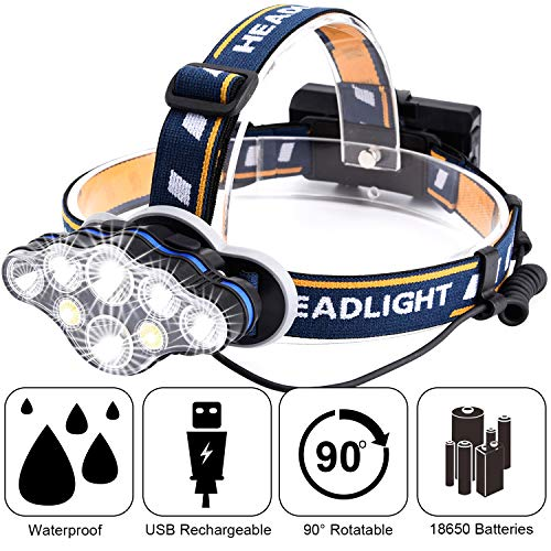 Headlamp,Tupwaid Rechargeable Led Head Lamp Waterproof 18000 Lumen Brightest 8 LED USB Headlight Flashlight with Red Lights,Headlamps Extreme Bright with 8 Modes for Outdoor Camping Cycling Fishing