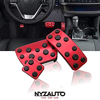 NYZAUTO Anti-Slip Performance Foot Pedal Pads kit Compatible with Toyota Camry 2012-2017 & Highlander 2011-2017,Auto No Drilling Aluminum Brake and Gas Accelerator Pedal Covers -Red
