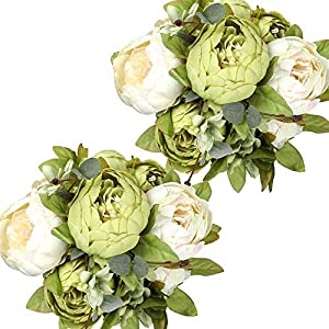 Nubry 2pcs Artificial Green Peonies Silk Flowers Bouquet Fake Spring Flower for Wedding Home Garden Party Decoration (New Green)