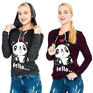Megan apparel Women's 2 Pack Basic Long Sleeve Hoodie T-Shirts with Cute Panda Print