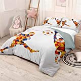 HELLOLEON Sports 3-Pack (1 Duvet Cover and 2 Pillowcases) Bedding Abstract Design with Football Soccer Players in Geometrical Colorful Shapes Print Polyester (Full) Multicolor