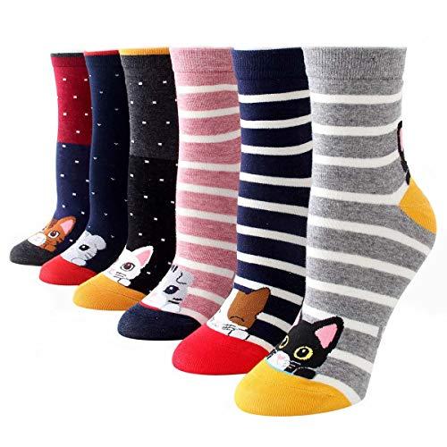 Dusenly 5 pares de calcetines de algodón para mujer,  diseño de perro,  gato,  para invierno,  cálidos,  multicolor,  para niñas y mujeres Dulce gato. Talla única