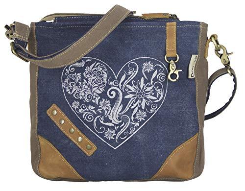 Domelo Dirndl Tasche Umhängetasche Oktoberfest Damen Accessories klein Trachtentasche mit Herz Kleine Geschenke für Teenager Mädchen Crossbody Bag Vintage Retro Handtasche Braun/Blau aus Canvas&Jeans
