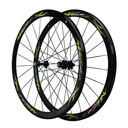 Rennrad Radsatz 700C 40mm Felge Steckachse/Schnellspanner 20/24-Loch-Scheibenbremse C/V-Bremse 7 8 9 10 11 12 Geschwindigkeit (Color : C)