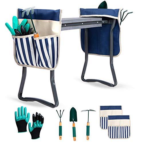 LYKO#039s Portable Garden Kneeler and Seat2 Tool BagGardening Bench W/ Free Garden Accessories Outdoor Tools KitComfy Eva Foam Padded Garden Stool Kneeling Chair