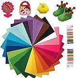 KARLOR 40 Farben Filzstoff, 20*30cm DIY Bastelfilz , Kinder Bastelsets, mit Farbfäden zum Nähen,...