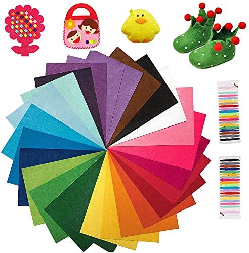 KARLOR 40 colores, 20 x 30 cm, fieltro para manualidades, hojas de fieltro, poliéster, fieltro, para niños, para manualidades, costura, decoración manual