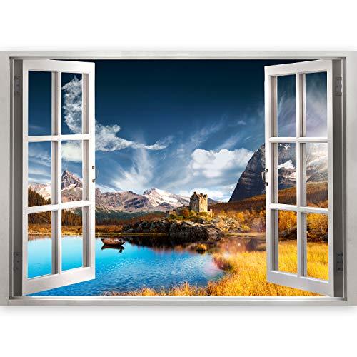 murando 3D WANDILLUSION Wandbild Gebirge Landschaft Fototapete Poster XXL Fensterblick Vlies Leinwand Panorama Bilder Dekoration Natur Berge Schloss See 140x100 cm c-A-0110-c-a