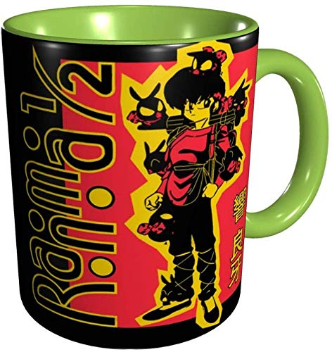 Ranma 1/2 Tazas Comics Anime Tazas de café Novedad Regalo Taza de café de cerámica Tazas de café de viaje para el hogar Rojo-Verde