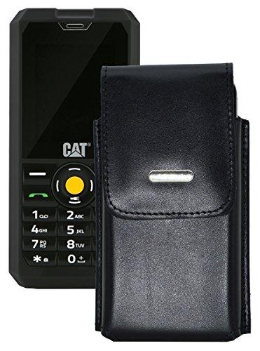 Vertikal Etui für / Caterpillar CAT B30 / Köcher Tasche Hülle Ledertasche Vertical Hülle Handytasche mit einer Gürtelschlaufe auf der Rückseite