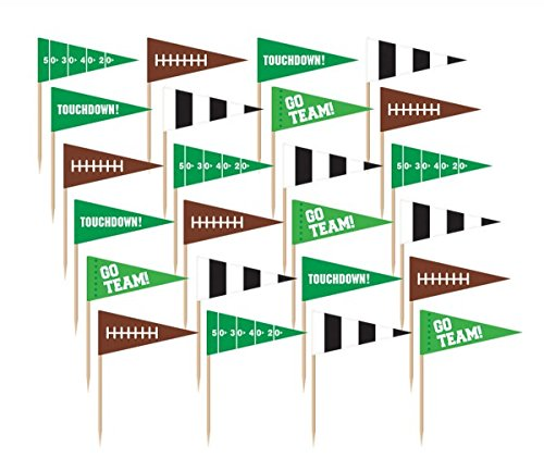 Amscan 400062 Football Flag Picks, Party Decoration, 1 piece