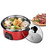 Electric Hot Pot, 5L Stainless Steel Electric Cooker Multi-function Adjustable Household Electric Stewpot for Home Kitchen, US Plug 110V