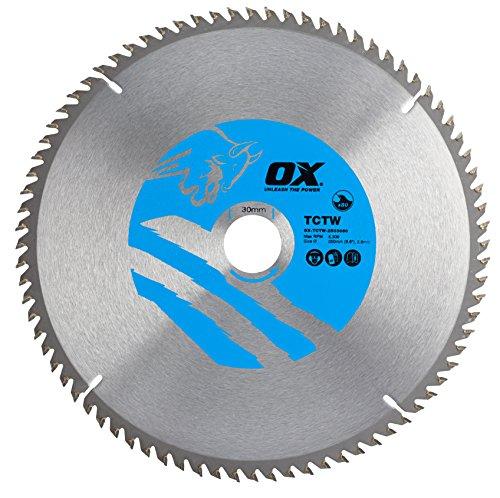 OX Tools OX-TCTW-2503080 OX Hoja de Sierra Circular para Cortar Madera 250/30mm, Dientes, 0 V, Silver/Blue, 80 Teeth ATB