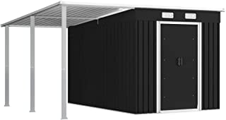 vidaXL Garden Shed with Extended Roof Outdoor Backyard Patio Shelter Tool Furniture Equipment Storage House Anthracite 336...