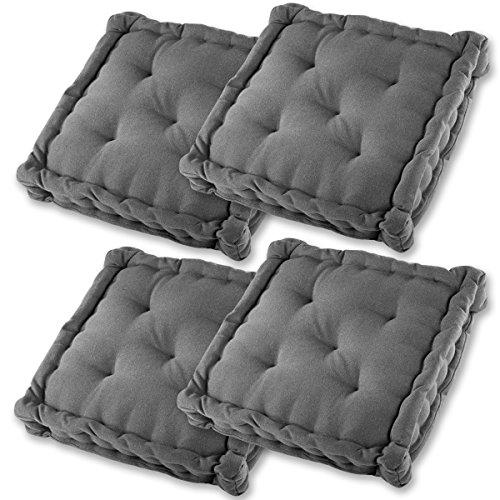Gräfenstayn Set di 4 Cuscini per Sedia 40x40x8cm da Interni ed Esterno in 100% Cotone - Colori Diversi - Imbottitura Spessa Cuscino Trapuntato/Cuscino da Pavimento (Antracite)
