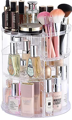 Cq acrylic 360 Degree Rotating Makeup Organizer for Bathroom,4 Tier Adjustable Cosmetic Storage Cases and Make Up Holder Display Cases,Clear