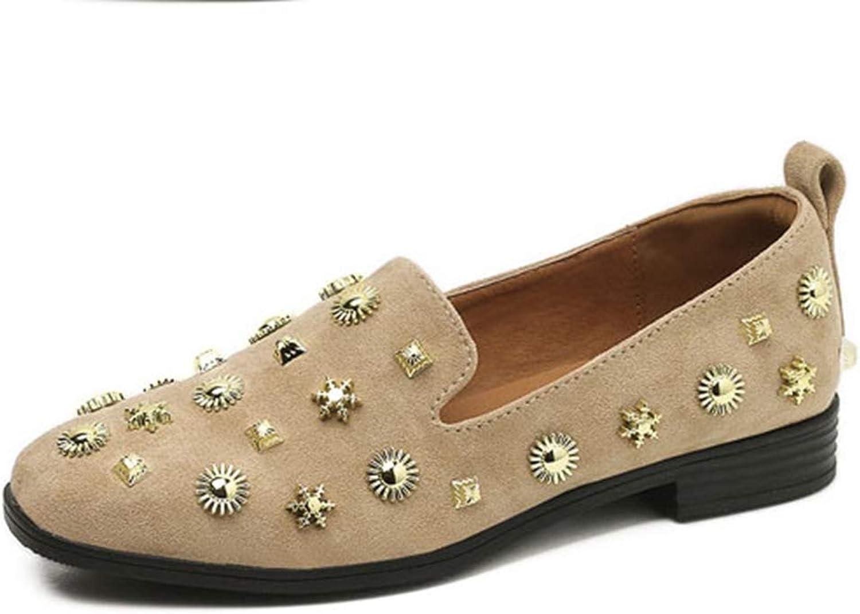 T-JULY Women's Fashion Rivets Studded Platform Flat Loafers Square Toe Pumps Slip-on Dress Comfy Moccasin shoes