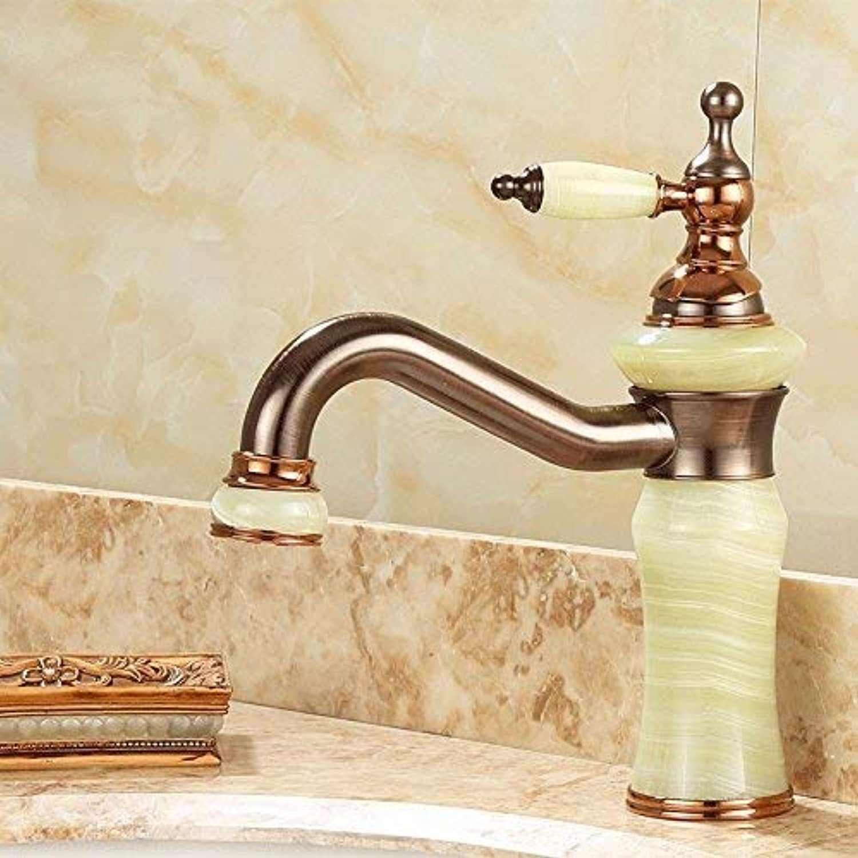 SEBAS HOME Taps Faucet Basin Faucet Copper Brown Bronze Wash Basin Hot And Cold Faucet pink gold Antique Faucet I
