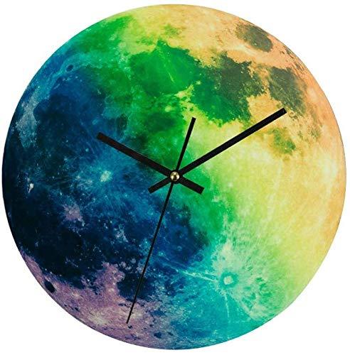 FEE-ZC Überleben Camping Wanduhr, leuchtende Mond 3D DIY Nadel leuchtende hängende Uhr Stille für Wohnzimmer Schlafzimmer Dekor
