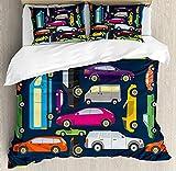 Dibujos animados duvet cover set Sport Cars Automóviles de pasajeros en el atasco de viaje van bus Nursery Road Imprimir decorativo de 3 piezas Juego de cama con 2 Almohada Shams,90'x102',multicolor