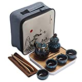 Ceramic Kungfu Tea Set,Portable Travel Tea Set with Teapot,Teacups,Tea Canister,Tea Tray and Travel Bag,Suitable for Travel, Home,Outdoor and Office (Blue)