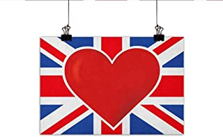 Littletonhome Union Jack Wall Art Decor Poster Painting British Flag with a Big Red Heart in Center Nationality Pride Concept Decorations Home Decor 24