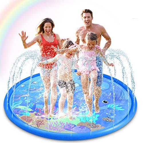 Magicfun Sprinkler & Splash Pad for Kids - Big 68'' Inflatable Blow up Pool Sprinkle Mat, Toddler...