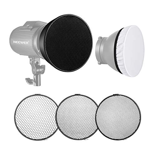 Neewer Standardreflektor 7 Zoll/18cm weicher Diffusor mit 20/40/60 Grad Wabengitter für Bowens Montage Studio Blitzlicht Monolight