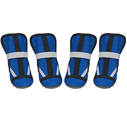 Hengu Botas Protectoras de la Pata del Perro, Zapatos Antideslizantes para Mascotas con Diseño de Hebilla Nylon para Escalada de Mascotas o Largas Caminatas para Perros