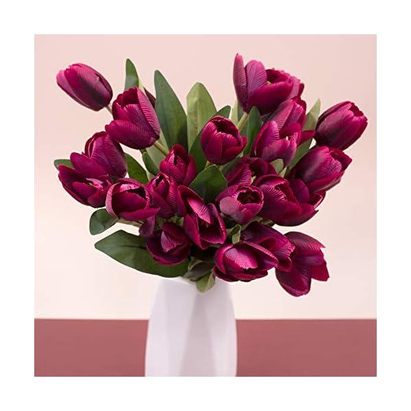 SnailGarden 27 Tulipanes Artificiales,Flores de Tulipanes de Seda,Flor Decorativa con 1 Tarjeta de Felicitación y 2…