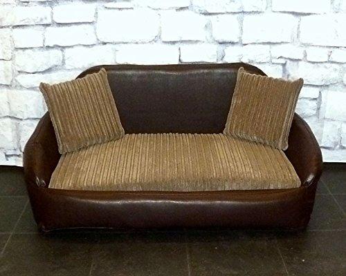 Zippy Faux Leather Sofa Dog Bed - Large - Brown & Mocha Jumbo Cord