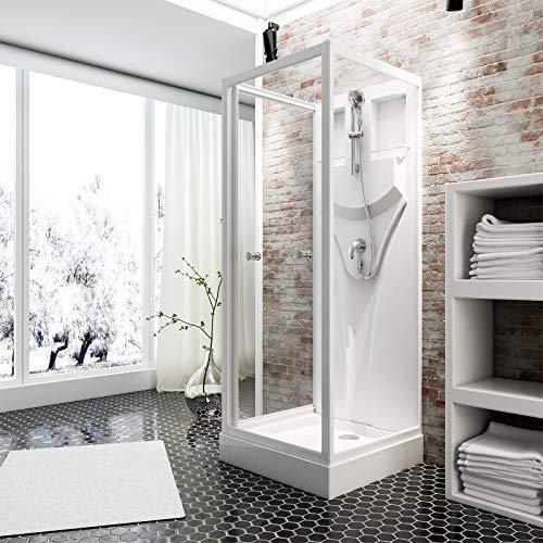Schulte D1914504 04 50 Cabine de douche intégrale en kit Siena, verre de sécurité transparent, profilé blanc, 80 x 80 x 190 cm