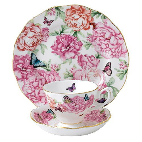 Royal Albert Miranda Kerr Grattitude 40001839 Teacup, Saucer & Side Plate 20cm 3 Pc Set, Bone China, Multi-White, 22