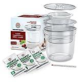 TOPTHERM Yogurt Maker, 2-in-1 Homemade Greek Yogurt Machine, Set of Container, Basket, Strainer, Thermometer, Starter Culture, Non-BPA Plastic
