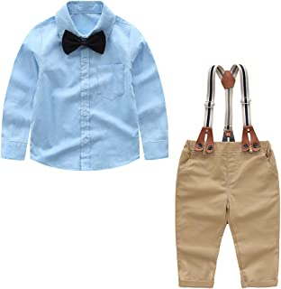 Newborn Baby Clothes Set Shirt + Bowtie + Suspender Pant 4pcs Baby Boy Gentleman Outfits Set Toddler Suit