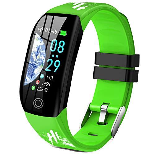 Smartwatch, Relojes Inteligentes Mujer Hombre Niños Impermeable IP68 Pulsera Actividad Inteligente con Pulsómetro Podómetro Monitor de Sueño Caloría Smart Watch para Android iOS (Verde)