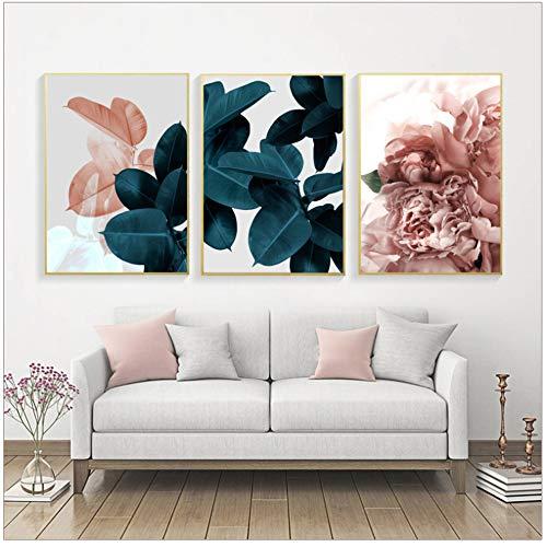 No brand Quadro su Tela Fiori Rosa Moderni Piante Verdi Stampa su Poster Immagini Decorazioni per la Parete di casa - 50x70 cm Senza Cornice