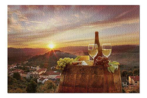Rompecabezas Puzzle Rompecabezas de Madera Vino blanco con vista de Chianti Toscana Italia 75.5X50.3CM