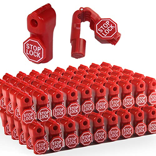 Betertek Peg Hook Locks Stop Lock 100pcs Plastic red Stop Locks Anti Theft Lock Retail peg Hook Security Locks pegboard peg Locks Retail Security Display Hook Lock