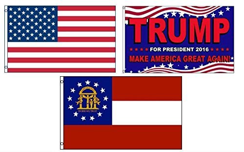 ALBATROS 3 ft x 5 ft Trump 2016 with USA American with State of Georgia Set Flag for Home and Parades, Official Party, All Weather Indoors Outdoors