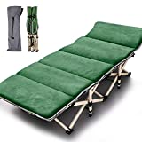 Folding Cot Camping Cot, Folding Camping Bed Outdoor Portable Military Cot, Double Layer Oxford Strong Heavy Duty Wide Sleeping Cots...