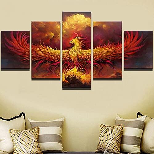 FGART Lienzo Pintura Abstracta Arte de Pared Modular 5 Piezas Fuego Phoenix pájaro imágenes Sala de Estar decoración del hogar póster Impreso en HD