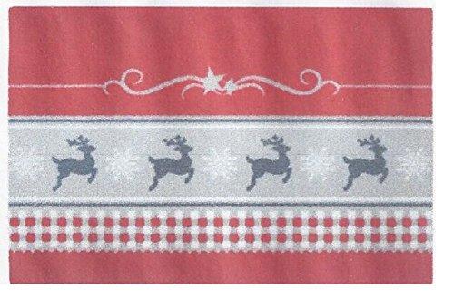 Bavaria Home Style Collection - Weihnachtliche - Fussmatte - flexibel einsetzbar - rutschfest - ca. 40 x 60 cm (Hirsche rot grau)