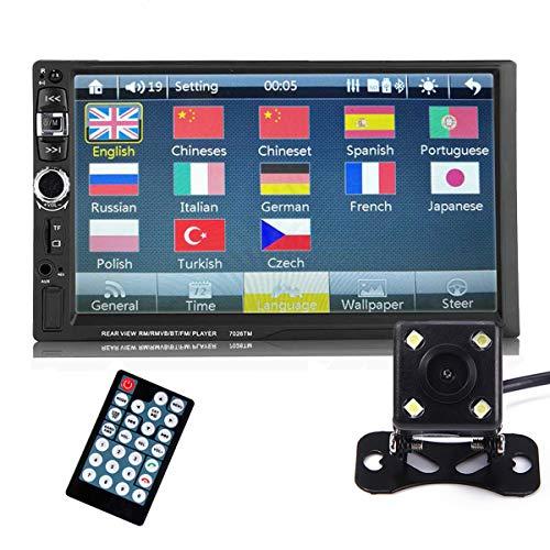GOFORJUMP Bluetooth Voiture écran Tactile AUX in USB TF MP5 mp4 Android écran Miroir avec caméra arrière 7 Pouces 2 din stéréo