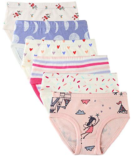 6 Pack Kleines Mädchen Unterwäsche Baumwolle Fit Alter 1-7, Baby Mädchen Höschen Kleinkind Mädchen Unterwäsche (Prinzessin, 6-7 Jahre/Herstellergröße 140)