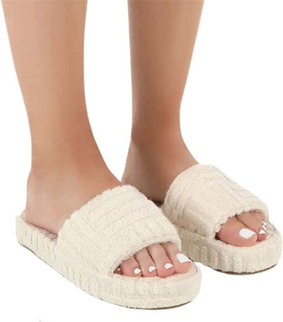 YUDIAO Zapatillas de Piel para Mujer, Punta Abierta, Espuma viscoelástica, cómodas y Planas, cómodas Zapatillas Premium ortopédicas, Zapatos de casa de Verano (Blanco,40)