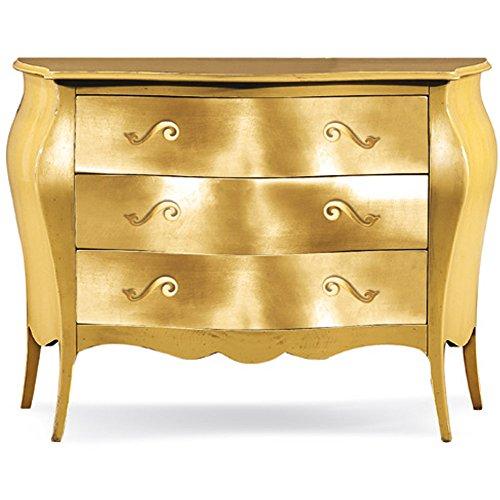 Comò con 3 cassetti, stile classico, in legno massello e mdf con rifinitura in foglia oro - Mis. 100 x 42 x 85