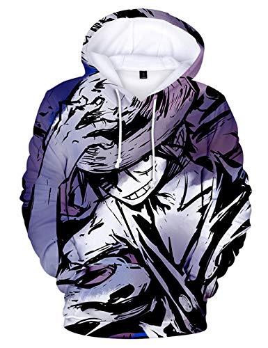 Moletom com capuz 3D anime de uma peça, moletom com capuz Zoro Luffy Sanji Ace com personagens Cosplay para homens e meninos, D, 150