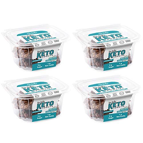 Keto Cookies - LOW CARB - SUGAR FREE & GLUTEN FREE - CHOCOLATE Keto Cookies   (4) 6oz Tubs of 10 Cookies Each   Healthy Diabetic, Paleo, Desserts Sweets, Diet Foods