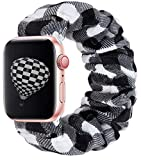 THOUSMOON Scrunchie Elastic Watch Band Compatible for Apple Watch,38mm 40mm / 42mm 44mm Light and Comfortable Watch Scrunchy Band Compatible with Iwatch Series 1/2/3/4 (White Plaid, 38mm/40mm)